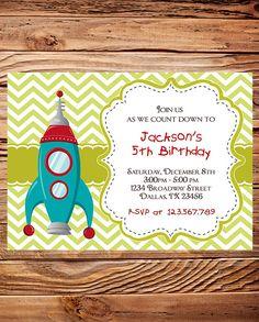 Rocket Birthday Party Invitation, BOY, GIRL, Space, Chevron Stripes, Blue, Green, Spaceship Birthday, Rocket ship birthday invitation