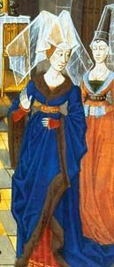 "Large sleeves over fitted kirtle sleeves. Imagen de manuscript ""Histoire de Helayne""."