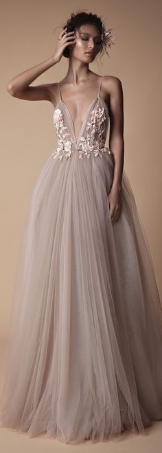 Tulle gown with floral decal