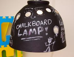 "Upcycled chalkboard pendant lamp!  Love this!  From wesbenn on etsy.  18"" tall, 18"" diameter  $45"