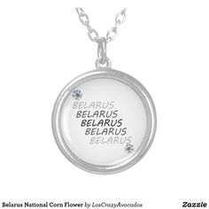 Belarus National Corn Flower Silver Plated Necklace