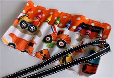 Mini Me Construction Dig It Crayon Roll Travel Organizer-8 Crayola Crayons Included-Great Gift or Party Favor or Organizer