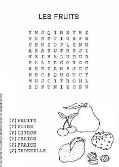 Fruits. Mots mélés