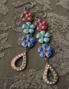 Multicolor Flower Red Green Blue Enamel w/ Rhinestone Dangle Earrings Brass