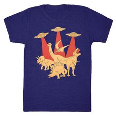 Dinos vs Aliens Unisex Mens Cool T-Shirt by GnomEnterprises