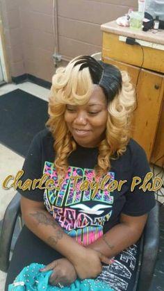 Blonde curly bob