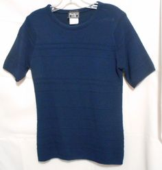 Southern Lady Short Sl Navy Blue Sweater Small Scoop Neck Made in USA Acrylic #SouthernLady #ScoopNeck #Work
