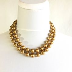 Striking gold bead double strand choker necklace approx long Very nice condition ~ clasp seems sturdy, a couple of the beads have some damage to the coating (see detail pictures please) Beaded Choker Necklace, Short Necklace, Simple Necklace, Simple Jewelry, Modern Jewelry, Earrings, Gold Necklace, Bridal Jewelry, Gold Jewelry