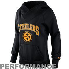 Nike Pittsburgh Steelers Ladies Wildcard Pullover Performance Hoodie - Black  I NEED THIS!!
