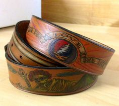 SAMPLE Tooled Leather Belt Tattooed by TheLeatherChannel13 on Etsy, $400.00