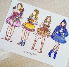 Spring, summer, fall & winter (Fashion by JoeslleyRocha Cute Disney Drawings, Pretty Drawings, Cool Art Drawings, Kawaii Drawings, Fashion Design Drawings, Fashion Sketches, Social Media Art, Arte Fashion, Drawing Clothes