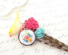 Garden Flower Hair Pin Set - Bobby Pin - Bird - Wedding - Bridal - Bridesmaid by NestingPretty #TrendingEtsy