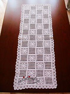Crochet Table Runner Pattern, Crochet Doily Diagram, Crochet Flower Patterns, Doily Patterns, Crochet Squares, Crochet Motif, Crochet Doilies, Crochet Flowers, Crochet Lace