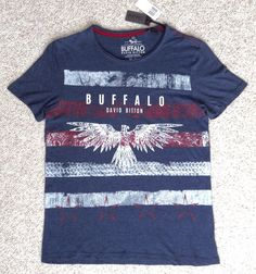 New$39 BUFFALO DAVID BITTON T-SHIRT Navy-Blue White/Red Striped Bird Phoenix MED #BuffaloDavidBitton #GraphicTee