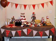 Sock Monkey Baby Shower Boy Birthday Parties, Baby Shower Parties, Baby Shower Themes, Shower Ideas, Birthday Ideas, Sock Monkey Party, Monkey Baby, Monkey Party Decorations, Baby Shower Decorations