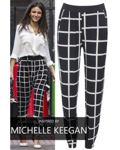 Keegan Black Check Trousers Michelle Keegan Style, Fashion Bible, Dress Outfits, Fashion Outfits, Checked Trousers, Inspirational Celebrities, Dressed To Kill, Get The Look, Celebrity Style
