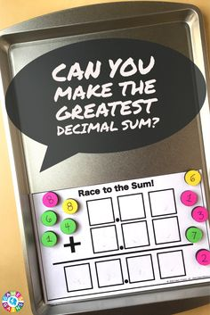 This hands-on game combines decimal addition practice with higher order thinking skills!