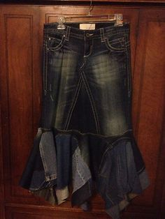 Long Denim Skirt Maurices Jeans Upcycled Size 1/2 Boho Reconstructed