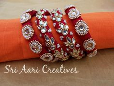 For orders pls contact - 9842995293 Silk Thread Bangles, Thread Jewellery, Beaded Jewelry, Quilling Earrings, Handcrafted Jewelry, Handmade, Thread Work, Bridal Accessories, Wedding Jewelry