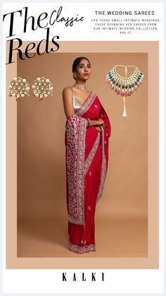 Berry red saree in crepe silk with French knots, zardozi and cut dana embroidered floral borer and buttis. Further trimmed with cut dana fringes on the pallu. Paired with a matching unstitched blouse piece. WASH CARE INSTRUCTION: Dry clean only. Dress Designs, Saree Blouse Designs, Wedding Fun, Wedding Ideas, South Indian Sarees, Big Fat Indian Wedding, Red Saree, French Knots, Saree Wedding