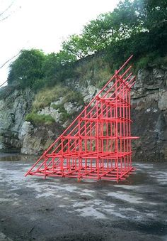 Wirksworth Art and Architecture Trail Red Wedge - scaffold Urban Furniture, Street Furniture, Sustainable Architecture, Art And Architecture, Temporary Architecture, Instalation Art, Street Installation, Temporary Structures, Principles Of Design