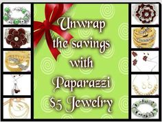 The holidays are here unwrap the savings with Paparazzi $5.00 Jewelry. Shop online & have it shipped to your front door. www.paparazziaccesories.com/22758