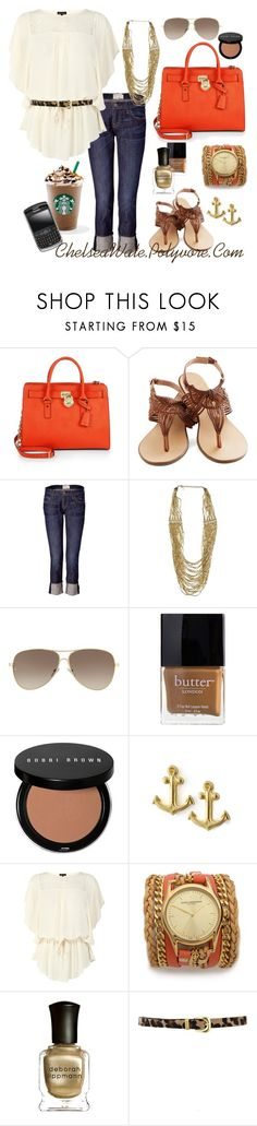 """Perfect for a day of errands!"" by chelseawate ❤ liked on Polyvore featuring MICHAEL Michael Kors, Current/Elliott, Zad, Giorgio Armani, Butter London, Bobbi Brown Cosmetics, Nuevo, Dogeared, Warehouse and Sara Designs"
