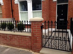 red brick front garden wall yellow stone caps sandstone paving victorian mosaic tile path pimlico battersea west london remove the paint Brick Fence, Front Yard Fence, Fenced In Yard, Gabion Fence, Pallet Fence, Farm Fence, Dog Fence, Fence Gate, Horse Fence
