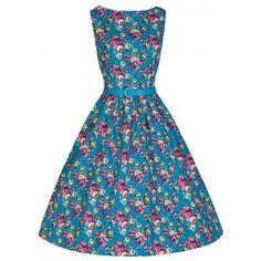 Платье с цветочным принтом «Одри Хепберн», Бирюзовое.