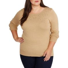 Plus Size George Women's Plus Embellished Pullover Sweater, Size: 3XL, Multicolor