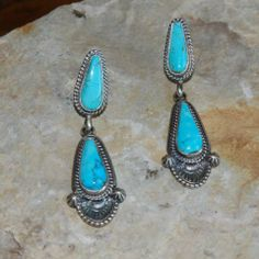Turquoise and sterling silver earrings.  Native American Jewelry.  www.RawhideRanchCo.com