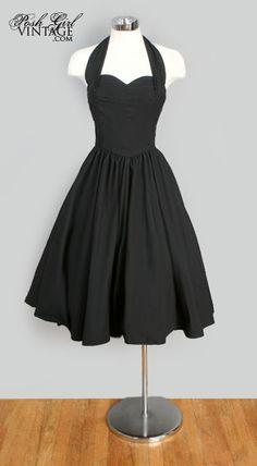 1960's tea length dresses | 1960's Black Cotton Tea Length Halter Dress