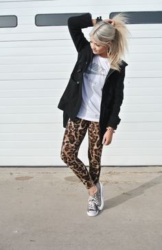 Leopard Lovin, converse, pattern tights and nike shirt. Love it! Sporty chic.