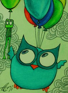owl with balloons by Almi