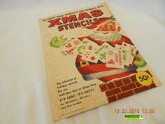 VINTAGE CHRISTMAS STENCILS! MIX OF 8 GLASS WAX STENCILS! 1957! USED! AS IS!