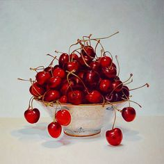 Gatya Kelly - Cherries in a chinese bowl - oil on canvas 50cm x 50cm - cherry still life oil painting