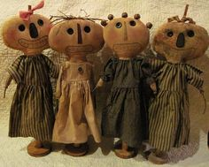 these are beautiful, if I had time and my machine was working right I'd go back to making dolls, love them Primitive Pumpkin, Primitive Folk Art, Primitive Crafts, Halloween Doll, Fall Halloween, Art Fil, Making Dolls, Primitive Gatherings, Raggedy Ann And Andy