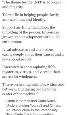 { INFP } Advocacy and integrity.