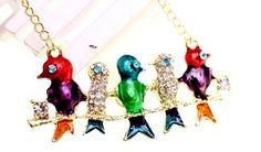 Five Colorful Rhinestone Birds by GrannysInspirations on Etsy, $12.98