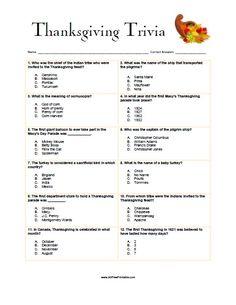 Thanksgiving Trivia Game - AllFreePrintable.com
