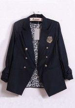 Navy Notch Lapel Double Breasted Cotton Blend Suit