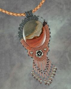 ~~Escalante necklace | Bead artwork by Sue Horine~~beautiful..love the way she matched the beads to stone pattern colors