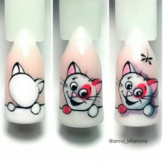 Animal Nail Designs, Animal Nail Art, Toe Nail Designs, Gelish Nails, Manicure, Fruit Nail Art, Cat Nails, Braut Make-up, Disney Nails