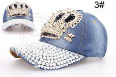 Women-Visor-Luxury-Rhinestone-Denim-Peaked-Baseball-Tennis-Adjustable-Hat-Cap