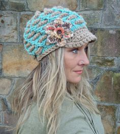 BOHEMIAN Slouchy Beanie crochet slouch hat FLOWER cap NEWSBOY hat interwoven pattern Hippie gypsy funky hat blue beige made to order. $49.00, via Etsy.