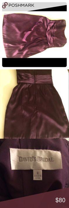Dress Purple, satin, David's bridal, knee length, strapless dress, size 8 with pockets. David's Bridal Dresses Strapless