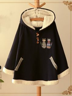 Cat Embroidery Hooded Fleece Patchwork Casual Coat is hot sale on Newchic,here women Coats & Jackets with unbelievable discounts. Coats For Women, Clothes For Women, Types Of Dresses, Colorful Fashion, Adidas Jacket, Hoods, Embroidery, Long Sleeve, Casual