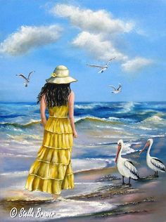 Art by Stella Bruwer Beach Please, Canvas Designs, Human Art, Beach Scenes, Beach Art, Seaside Art, Mellow Yellow, Pictures To Paint, Strand
