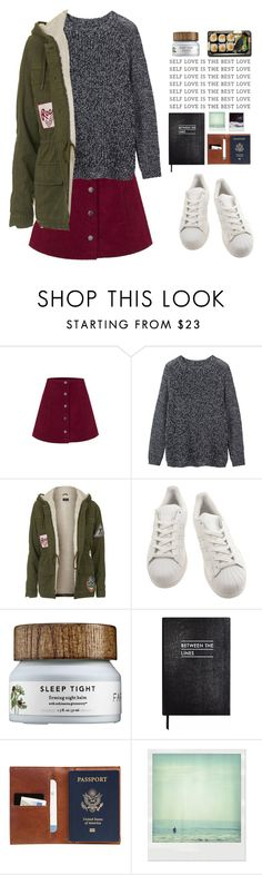 """""""when love runs out"""" by csandler12 ❤ liked on Polyvore featuring Toast, Topshop, adidas, Jura, Sloane Stationery, This Is Ground, Polaroid, women's clothing, women's fashion and women"""