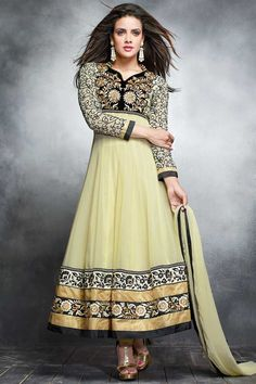 Lemon Georgette Anarkali churidar Suit With Dupatta Lemon, Georgette, semi stictch anarkali churidar suit. Daman/hem, neck and yoke embroidered with embroidered, resham, zari and stone work.  V neck, Below knee length, full sleeves kameez.   Lemon, santoon churidar with embroidered, resham, zari and stone work.   Lemon, chiffon dupatta with lace border with work.  http://www.andaazfashion.co.uk/lemon-georgette-anarkali-churidar-suit-with-dupatta-dmv13595.html